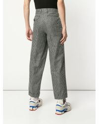 Kolor Blue Houndstooth Straight Trousers for men