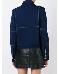Courreges - Blue Panelled Biker Jacket - Lyst