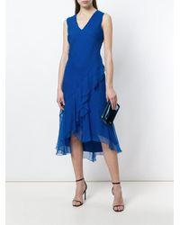 Alberta Ferretti - Blue Flared V-neck Dress - Lyst