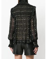 Saint Laurent Black Smocked Diamonds Fil Coupe Blouse