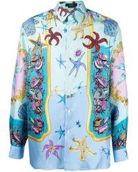 Chemise à imprimé animalier Versace pour homme en coloris Blue