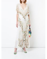 Attico White Floral Embroidered Tiered Dress