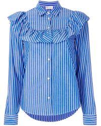 RED Valentino Blue Striped Frill Shirt