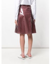 Jil Sander - Brown Tafetta A-line Skirt - Lyst