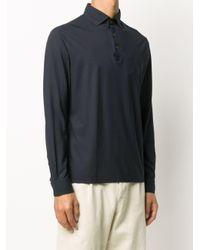 メンズ Dell'Oglio ロングスリーブ ポロシャツ Blue