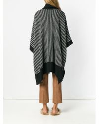 N.Peal Cashmere Black Textured Oversized Poncho