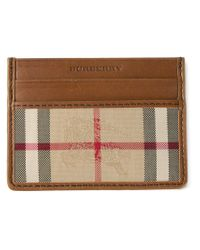 Burberry - Brown Horseferry Check Leather Cardholder for Men - Lyst