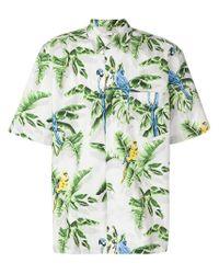Stella McCartney White Leaf Print Short-sleeved Shirt for men