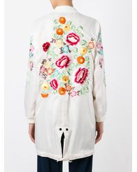 P.A.R.O.S.H. - Multicolor Embroidered Floral Zip-up Coat - Lyst
