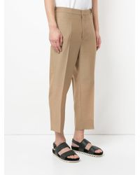 Jil Sander - Brown Cropped Trousers With Grosgrain Belt for Men - Lyst
