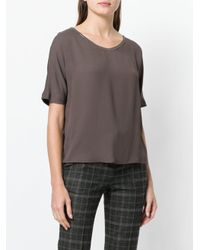 Fabiana Filippi - Brown Beaded Trim Blouse - Lyst