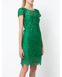 MILLY Green Shortsleeved Cut-out Dress
