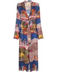 Chufy Blue Kimono mit Print