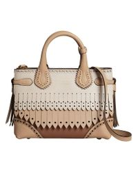 Burberry - Brown Small Banner Tote - Lyst