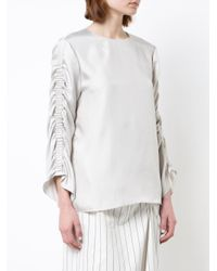 Tibi - Gray Gathered Sleeve Blouse - Lyst