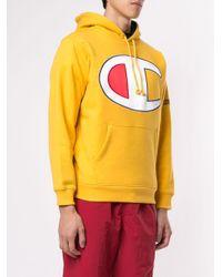 メンズ Supreme ロゴ パーカー Yellow