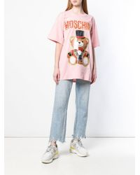 T-shirt con stampa Teddy Circus di Moschino in Pink