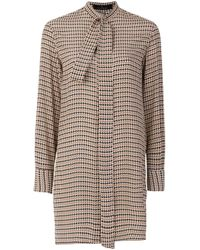 ROKH Brown Bluse mit Hahnentrittmuster