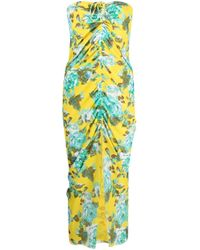 Fisico Yellow Ruched Floral-print Dress