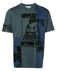 McQ Alexander McQueen Blue Deconstructed Odyssey T-shirt for men