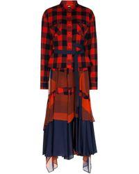 Robe-chemise imprimée Sacai en coloris Red