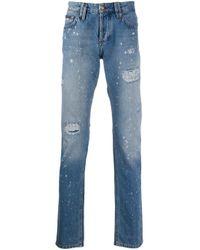 Philipp Plein Blue Distressed Straight Leg Jeans for men