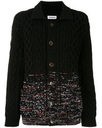 Coohem Black Aran-gradation Spread Collar Cardigan