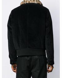メンズ Neil Barrett ファーカラー ボンバージャケット Black