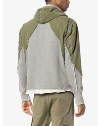 Greg Lauren Gray Denim Front Distressed Cotton Hoodie for men