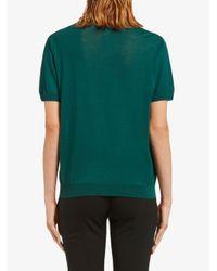 Blouse en maille à manches courtes Prada en coloris Green