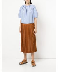Astraet Blue Poplin And Pleated Dress