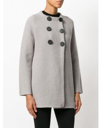 Goat - Gray Double-breasted Knitted Coat - Lyst