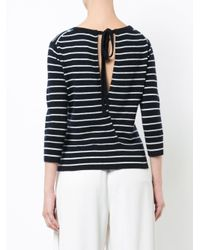 Vince - Blue Round Neck Striped Jumper - Lyst