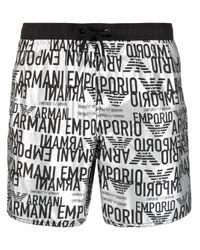メンズ Emporio Armani プリント トランクス水着 Gray