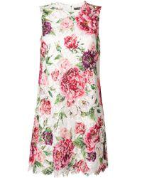 Vestito con motivo a fiori di Dolce & Gabbana in White