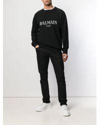 Felpa con stampa di Balmain in Black da Uomo