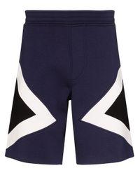 Neil Barrett Blue Modernist Colour-block Track Shorts for men