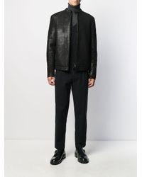 メンズ Salvatore Santoro ミニマル レザージャケット Black