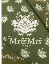 Pañuelo cuadrado con logo Mr & Mrs Italy de color Green