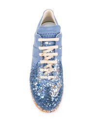 Maison Margiela Blue Paint Splattered Sneakers for men