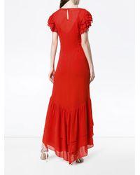 Vestido largo de manga corta con volantes De La Vali de color Red