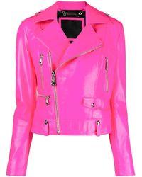Philipp Plein Pink Metal-rings Leather Biker Jacket
