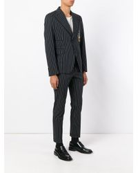 Dolce & Gabbana Black Pinstripe Musical Patch Suit for men