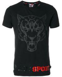 Philipp Plein Black Tiger Embroidered T-shirt for men