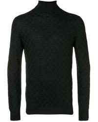 Tagliatore Black Checkerboard Knit Sweater for men