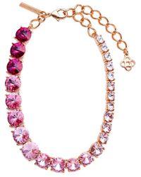 Oscar de la Renta Pink Crystal-embellished Necklace