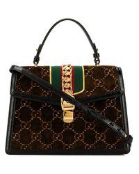 Bolso shopper Sylvie GG Gucci de color Brown