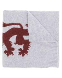 Lion emblem scarf Pringle of Scotland pour homme en coloris Gray