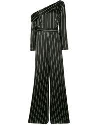 Safiyaa Black Jumpsuit mit Nadelstreifen