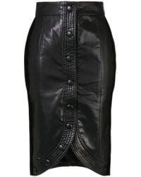 we11done Black Stitched H-line Skirt